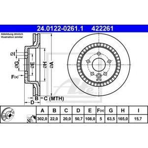 Заден диск вентилиран ATE 24.0122-0261.1 302мм Volvo XC60 D5 дизел
